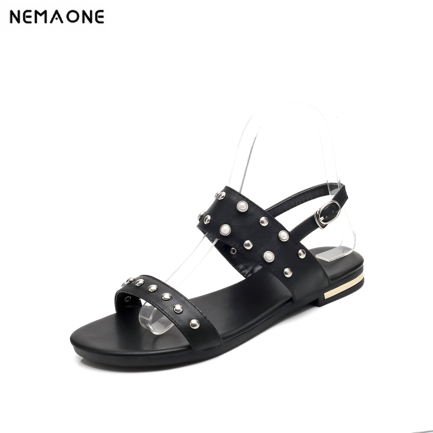 NEMAONE New genuine leather rivets women sandals flat shoes woman back strap summer shoes girl's sandals phyanic 2017 summer new women sandals with chain women buckle strap flat platform summer casual shoes woman phy3413