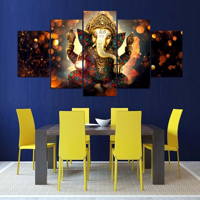Relatively Canvas Printed Wall Art Poster 5 Pieces Wall Decor Lord Ganesha  GX66