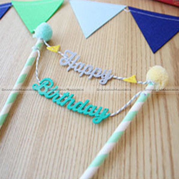 Happy Birthday Cake Cupcake Bunting Banner Flag Food Topper Baby Shower Party SMB 41115404 In Artificial Dried Flowers From Home Garden On