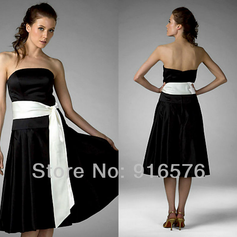 Black And White Strapless Elegant Dresses For Party Long Bridesmaid