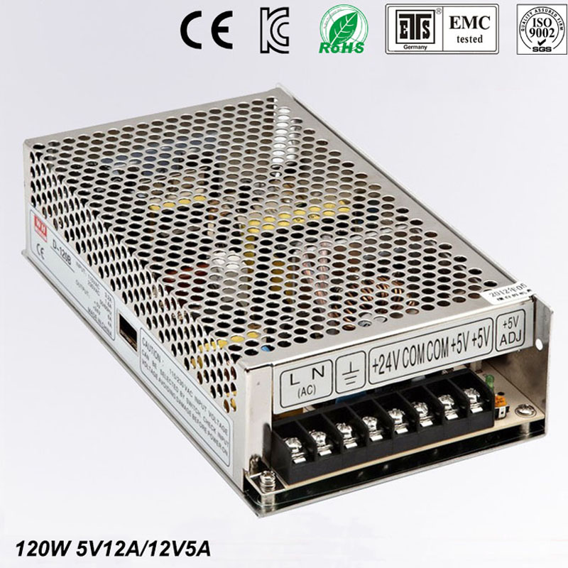 Best quality double sortie5V 12V 120W Switching Power Supply Driver for LED Strip AC 100-240V Input to DC 5V 12V free shipping 36pcs best quality 12v 30a 360w switching power supply driver for led strip ac 100 240v input to dc 12v30a