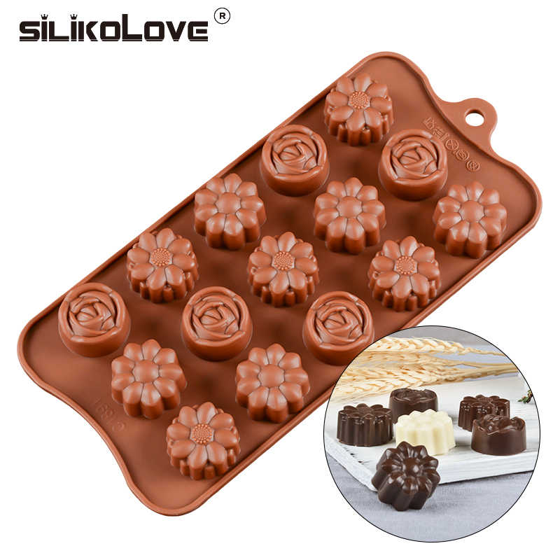 SILIKOLOVE Rose Flower Type Silicone Chocolate Molds Microwave Safe FDA Non-stick Baking Tools DIY Pastry Tools Cake Decoration