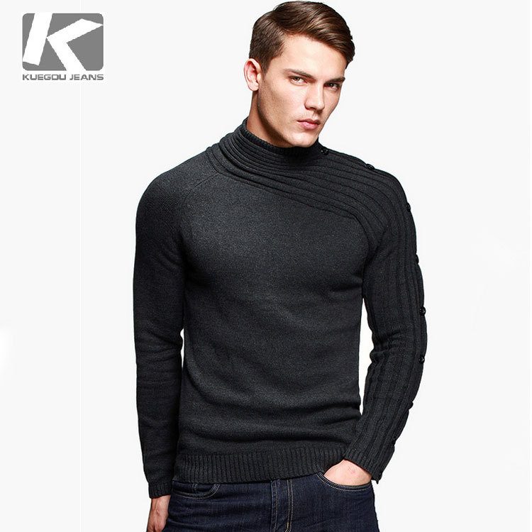 KUEGOU Brand Men Sweater 100% Cotton Cool Personality Asymmetric ...