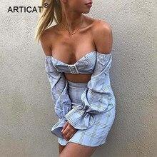 Articat Manga Alargamento Strapless Mulheres Vestido de Verão 2018 Duas Peças Set Backless Bodycon Mini Vestido Casual Curto Praia Vestidos