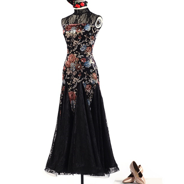 Picture of Lace Elegant Ballroom Dance Dress Woman Fringe Dress Ballroom Dancing Latin Ballroom Dress Flamenco Dance Costumes Tango W