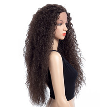 Aigemei Synthetic Lace Front Wig Long Curly Synthetic Hair Hear Resistant Fiber Natural Color Wigs 28 Inch 200g For women(China)