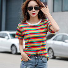 shintimes Striped T Shirt Women Summer Vintage Short Sleeve T-Shirt Female Cotton Korean Tshirt Woman Clothes Tee Femme