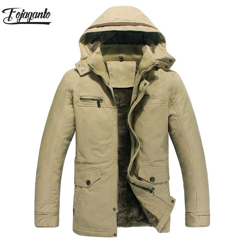 FOJAGANTO Men Winter Jacket Solid Color   Parka   New Men's   Parka   Jacket Male Windproof Waterproof Hooded Coat