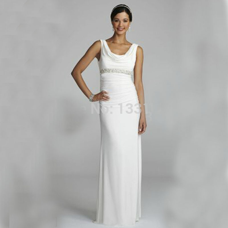 Cowl Neck Wedding Gown: 2016 Jersey Wedding Dresses Cowl Neck Dress With Beaded