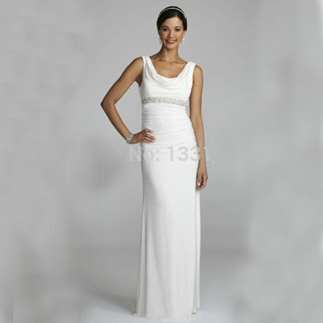 2016 Jersey Wedding Dresses Cowl Neck Dress with Beaded Sash Detail ...