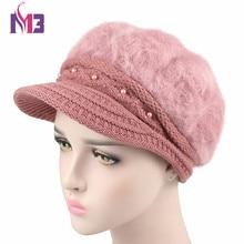 New Women Wool Beret Hat Winter Super Warmer Plush Female Cap Casual Dome Knit Visor for Bonia