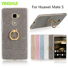 For Huawei Mate S Case Flash powder 3D Relief Phone Case For Huawei Mate S Case tpu Silicone Soft Back Cover With Ring