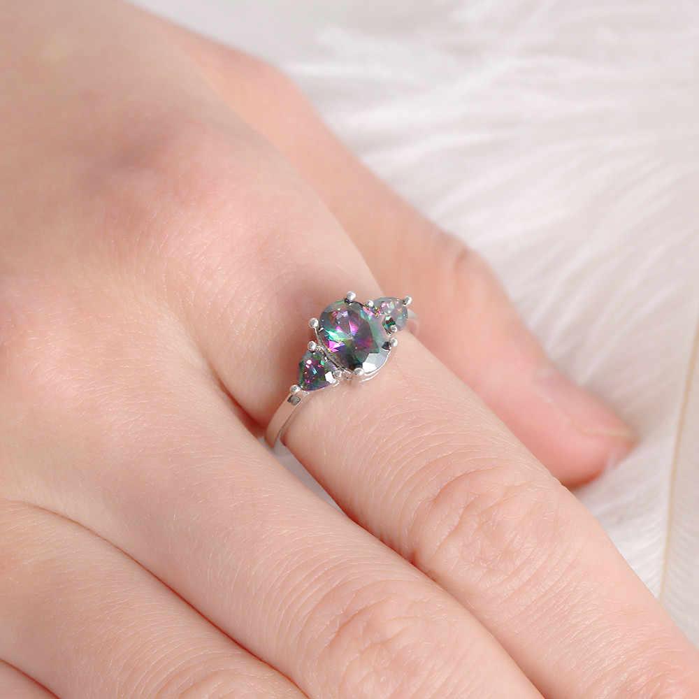 1 шт. модные роскошные овальные Резка огонь Радуга кольца для женщин Кристалл для девушки кубический обручение обручальное кольцо подарок ЮВЕ
