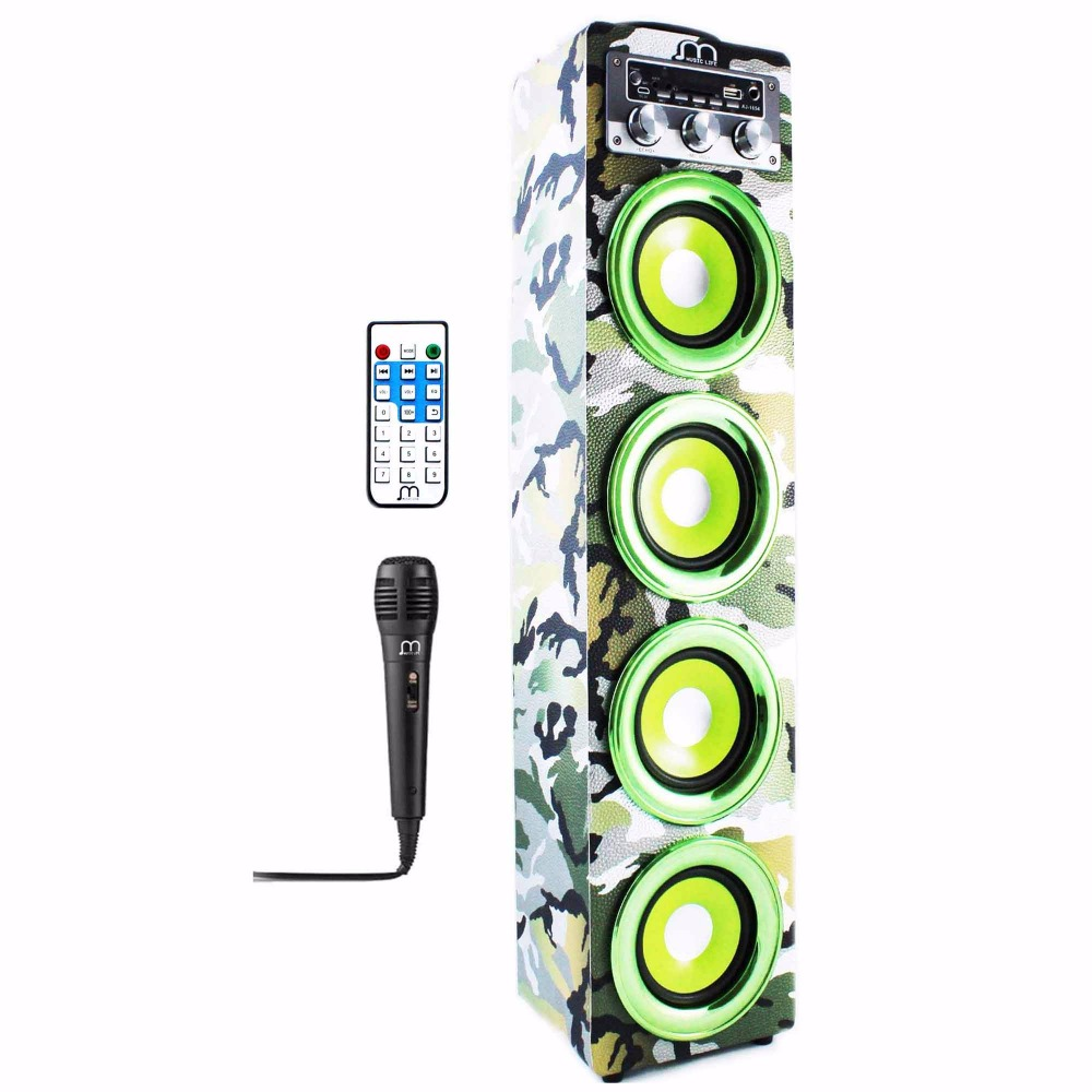 Bluetooth Speaker Karaoke Wireless Handsfree with Microphone FM Radio MP3 High Power Portable speaker tower for party BBQ fashion wireless bluetooth speaker portable audio amplifier near field communication with mobile power party usb 3 5mm mp3