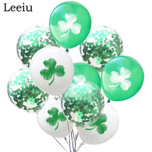 Leeiu 10pcs Green Confetti Balloons Happy St Patricks Day Decoration Clovers Latex Balloons Irish Shamrock Party Supplies