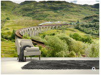 Custom natural landscape wallpaper,Steam Train On Viaduct,3D photo for living room bedroom dining backdrop waterproof wallpaper