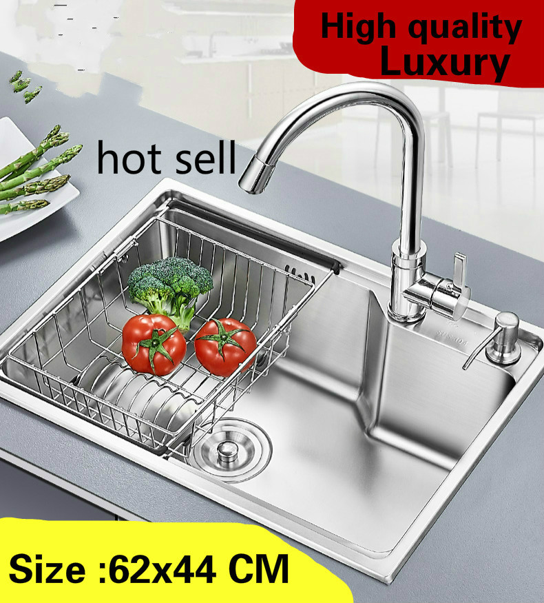 Free shipping Apartment kitchen single trough sink luxury multifunction wash vegetables 304 stainless steel hot sell 62x44 CMFree shipping Apartment kitchen single trough sink luxury multifunction wash vegetables 304 stainless steel hot sell 62x44 CM