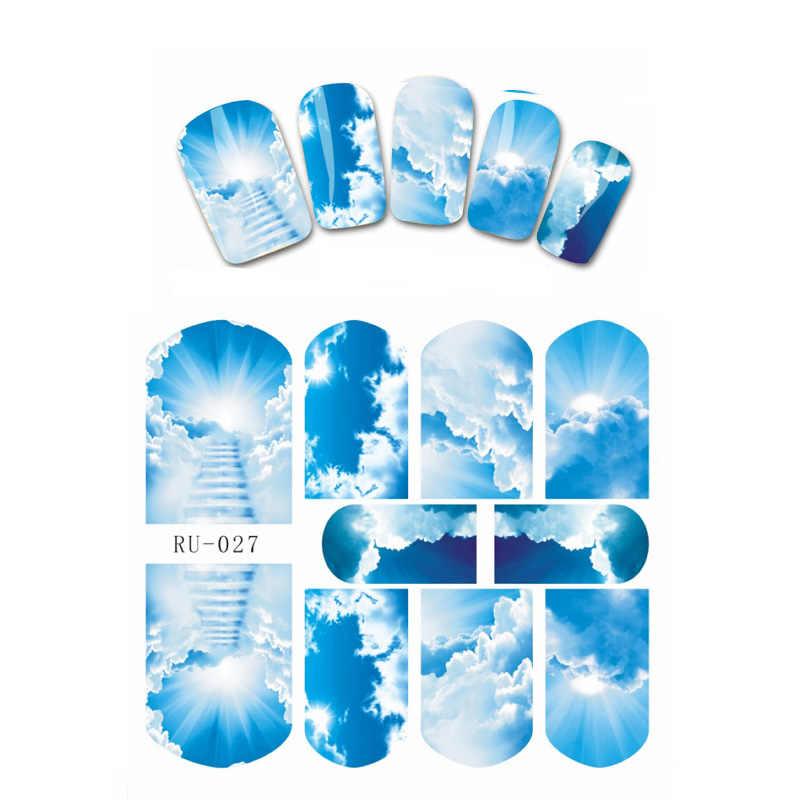 """נייל 1X מדבקת חג המולד כדור זכוכית שבורה פתית שלג עץ הדגל הלאומי של ארה""""ב RU025-030 ענן שמיים הכחולים"""