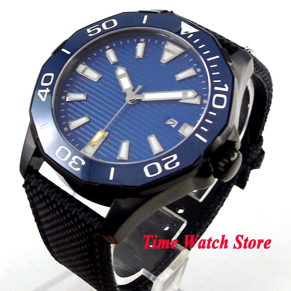 45mm PVD men's watch blue sterile dial luminous ceramic bezel sapphire glass MIYOTA Automatic movement wrist watch PL16 цена