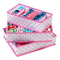 3 Pçs/set Underwear Conjuntos Dobrável Não-Tecido Caixas De Armazenamento Organização Desenhar Recipiente Divisor Para Laços Meias Shorts Bra