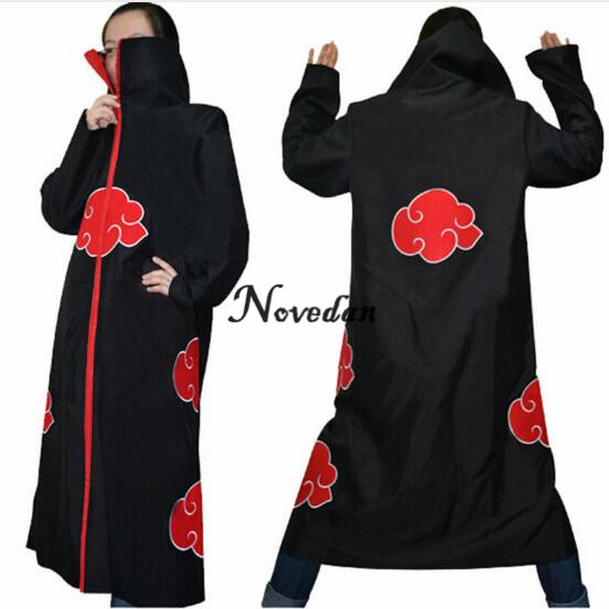 Naruto Cosplay Costume Akatsuki Cloak Hoodie Naruto Uchiha Itachi Anime Cosplay Costume cool devil cosplay cloak black size l