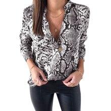 Women Snake Skin Print Silk Blouse Women Shirts Long Sleeve Tops Female Tunic Vintage Fall Casual Satin Blouses high low print tunic silk blouse