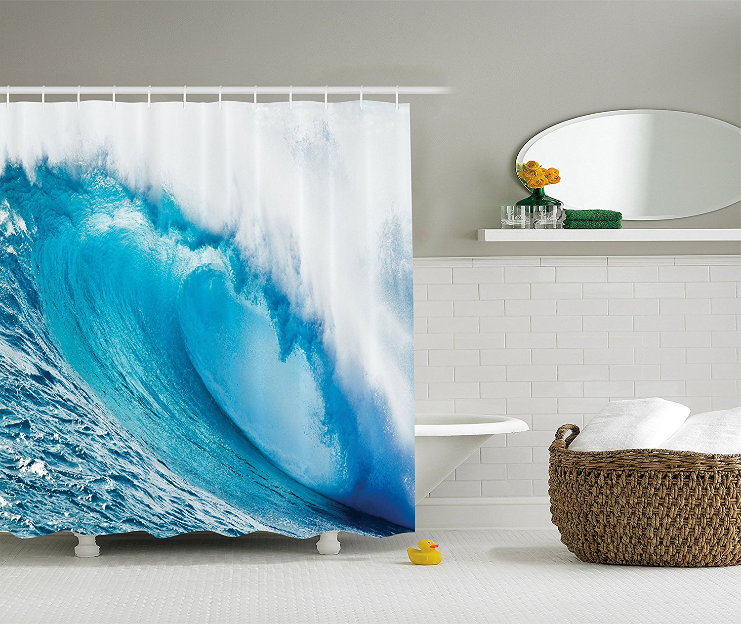 surfing water tube appears after forceful giant wave curls itself on sea picture polyester fabric
