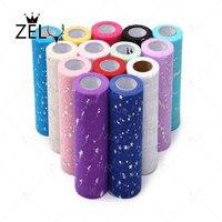 ZLJQ 15cm 25Y Star Moon Organza Roll Wedding Table Runner Decoration Yarn Roll Crystal Tulle Gauze