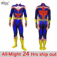 All Might Cosplay Costume My Hero Academia Boku no Hero Academia 3D Print Lycra Adult Kids Full Body Zentai Bodysuit Men/Women