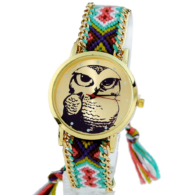 Gnova Platinum Ethnic Women Watch fashion owl tattoo hippie golden braided bracelet wristwatch quartz lawyer Geneva Style A452
