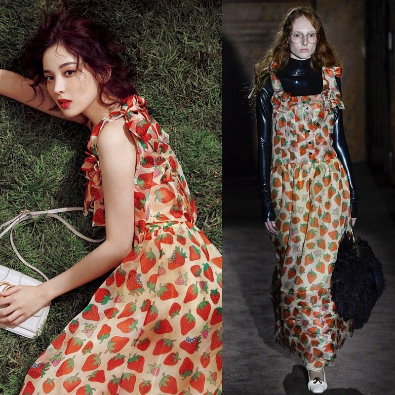 2019 Women Luxurious Brand Runway Strawberry Print Maxi Dress