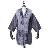 Women's Genuine Cashmere Shawl Fox Collar Half Sleeve Wedding Wraps Lady Pashmina Winter Poncho VF7067