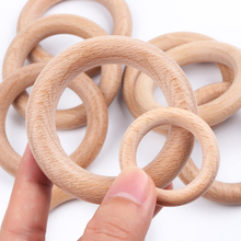 TYRY.HU 20PC Natural Round Beech Wooden Teether DIY Baby Teething Necklace Acces