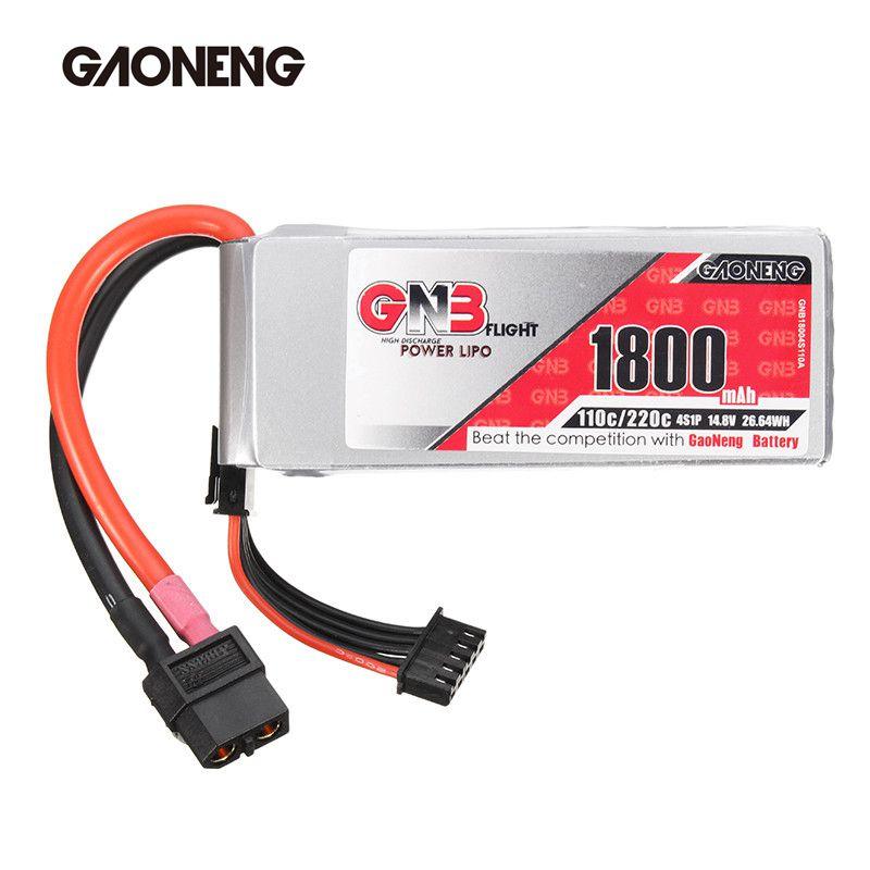 Nueva llegada gaoneng GNB 14.8 V 1800 mAh 110C/220C 4S Lipo batería xt60 plug para FPV Racing drone