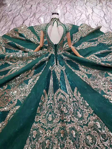 Image 5 - LS11093 luxury green evening dresses ladies high neck cap sleeves crystal party dress with golden lace dubai style real photos