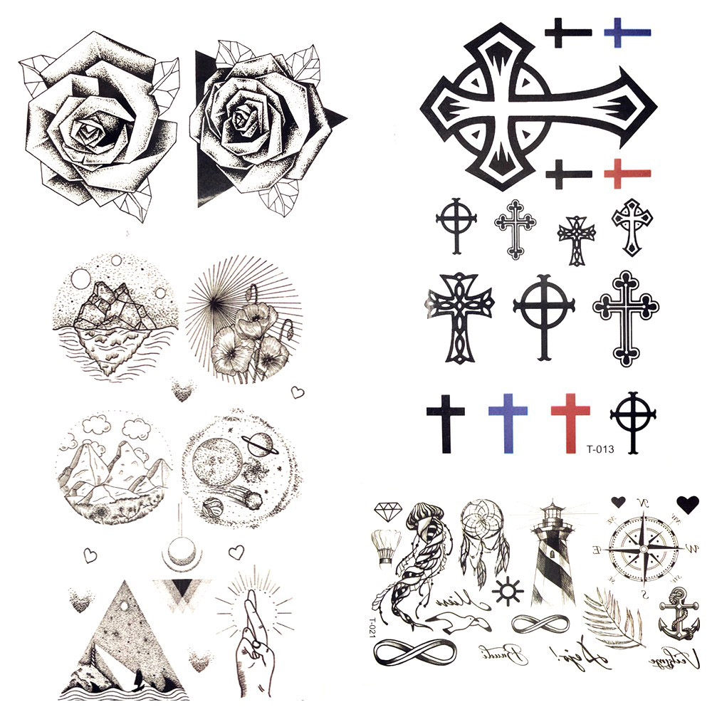 10.5x6CM Black Little Bauble Cross Christ Temporary Tattoo Stickers Body Finger Art Fake Tattoo Planet Women Tatoos Men Ankle ...