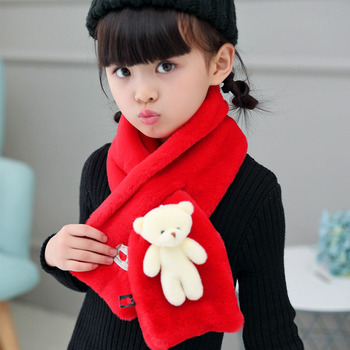 winter children's scarf LIC baby fur collar kids Neck Handkerchief Boy Girl Bear Ring Scarves Rabbit's hair shawls