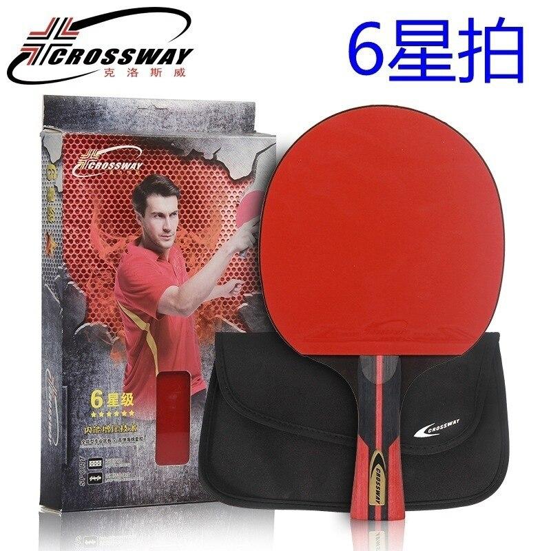 CROSSWAY 6 Stars Table Tennis Racket Sets Rubber Short Handle Tennis Table Racket Short Handle Offensive Defensive