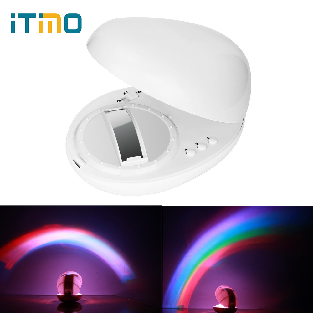 ITimo Novelty LED Timer Light Rainbow Projector Lamp Rainbow Night Light 3 Modes Home Bedroom Decoration Baby Kids Gift