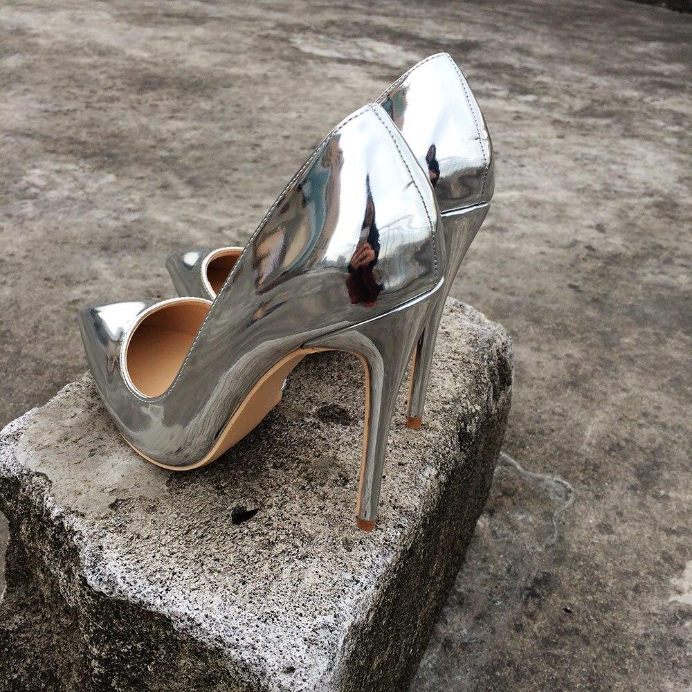 Pompes Dames Femmes Brillant Heels Veowalk 10 Chaussures Heels Cm Sexy 8 silver Mariage Silver 8cm Bout Mariée D'orsay 12 Hauts De 10cm Talons Pointu Soirée Argent 12cm WDEHI29