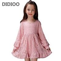 Kids Lace Dresses For Girls Long Sleeve Formal Dresses Children Autumn Clothes Infants Vestidos 4 8