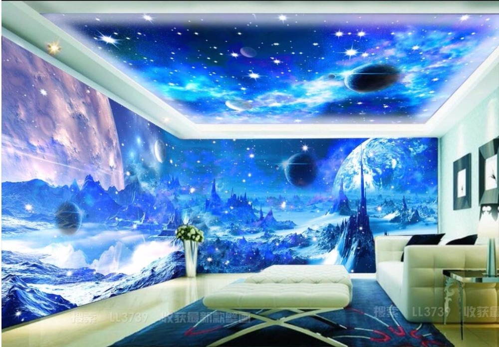Custom Mural Photo 3d Wallpaper Fantasy Blue Moon Moon