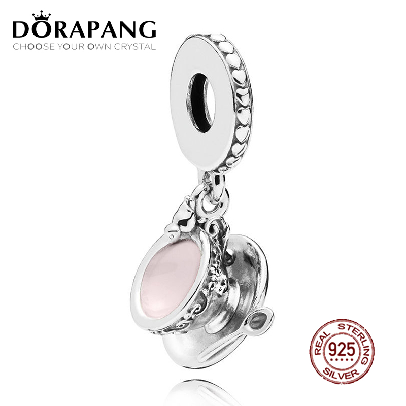 DORAPANG 100% 925 Sterling Silver Enchanted Tea Cup Dangle Charm Pale Pink Enamel Pendant Bead For Mother Gift Bracelet DIY
