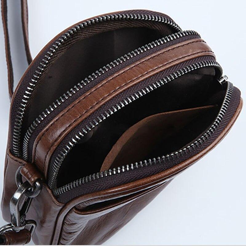 Image 2 - AETOO Mens leather Oblique cross Baotou layer cowhide mini bag  packets shoulder bag mobile phone bag Japanese small bagCrossbody Bags