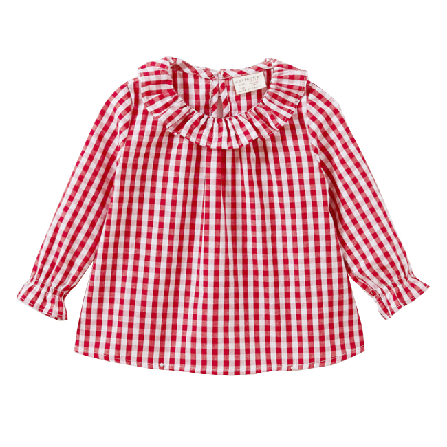 Sale! Free shipping 2018 new Spring autumn baby girls pure cotton plaid shirt doll collar cotton shirt childrens clothing