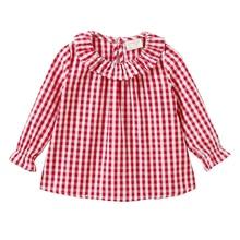 Sale! Free shipping 2018 new Spring autumn baby girls pure cotton plaid shirt doll collar cotton shirt children