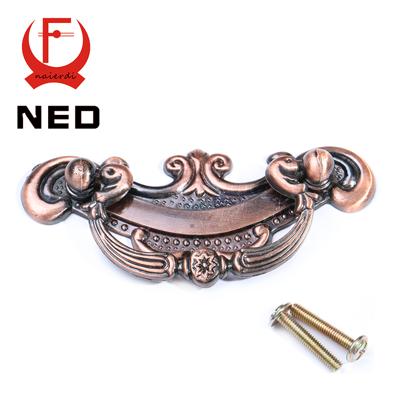 NED-RB8005 Retro Red Bronze Kitchen Cabinet Knobs 64mm Door Cupboard Zinc Alloy Handles Wardrobe Furniture Handle Drawer Pulls