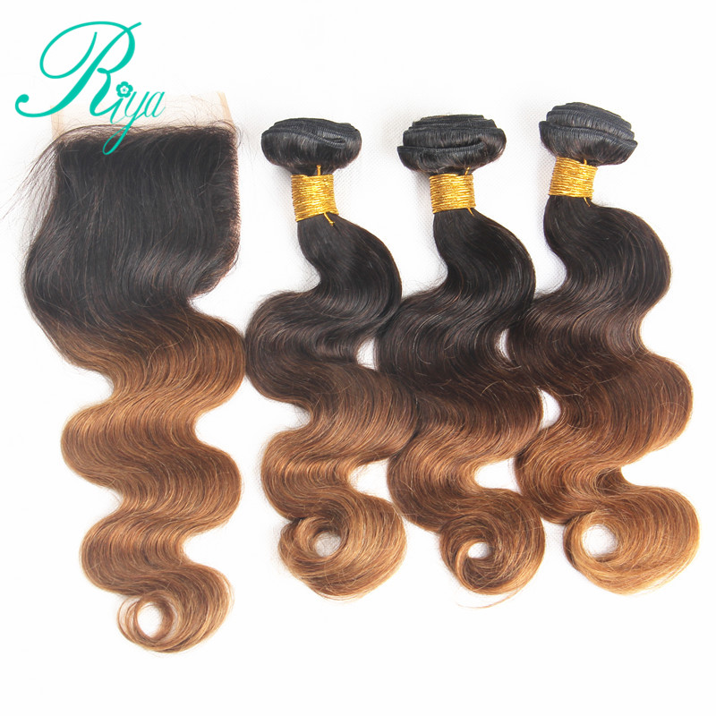 Riya Hair 1B /30 Ombre Preuvian Remy Hair Body Wave Hair Extension 3/4 Bundles With 4*4 Lace Closure Bleached Knots Human Hair