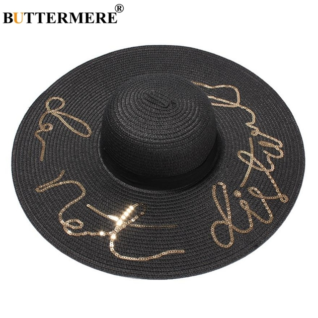 57bb373b71f BUTTERMERE Brand Women Summer Hat Anti-UV Casual Foldable Beach Sun Hat  Sequin Letter Black Fashion Ladies Wide Brim Straw Hat