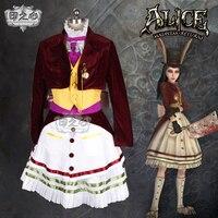 Аниме! Алиса: Безумие возвращает счастливый кролик темно красный бархат платье горничной Косплэй костюм на Хэллоуин Одежда для Для женщин Б